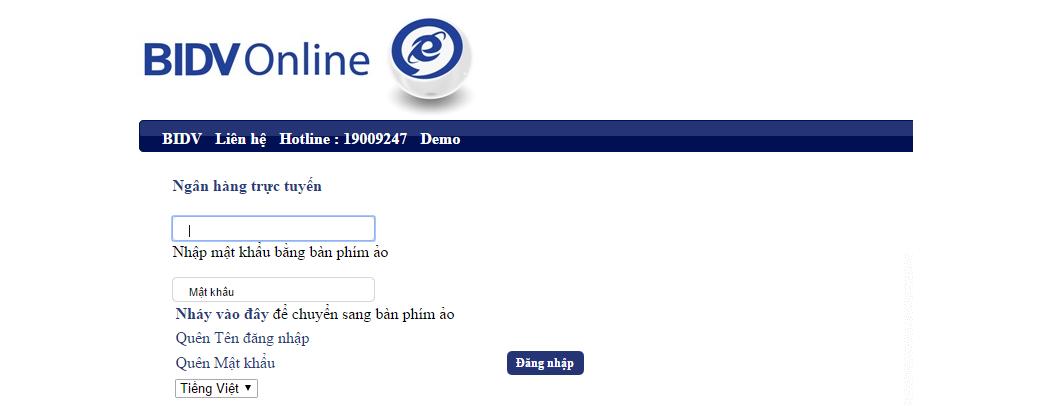 Truy cập tài khoản BIDV online