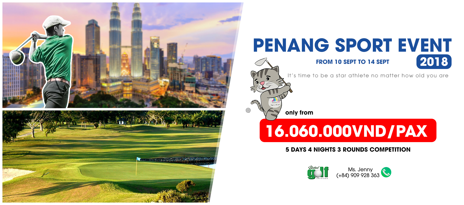 Penang Asia Pacific Masters game 2018  (5 Days 4 Nights 3 Golf Rounds)