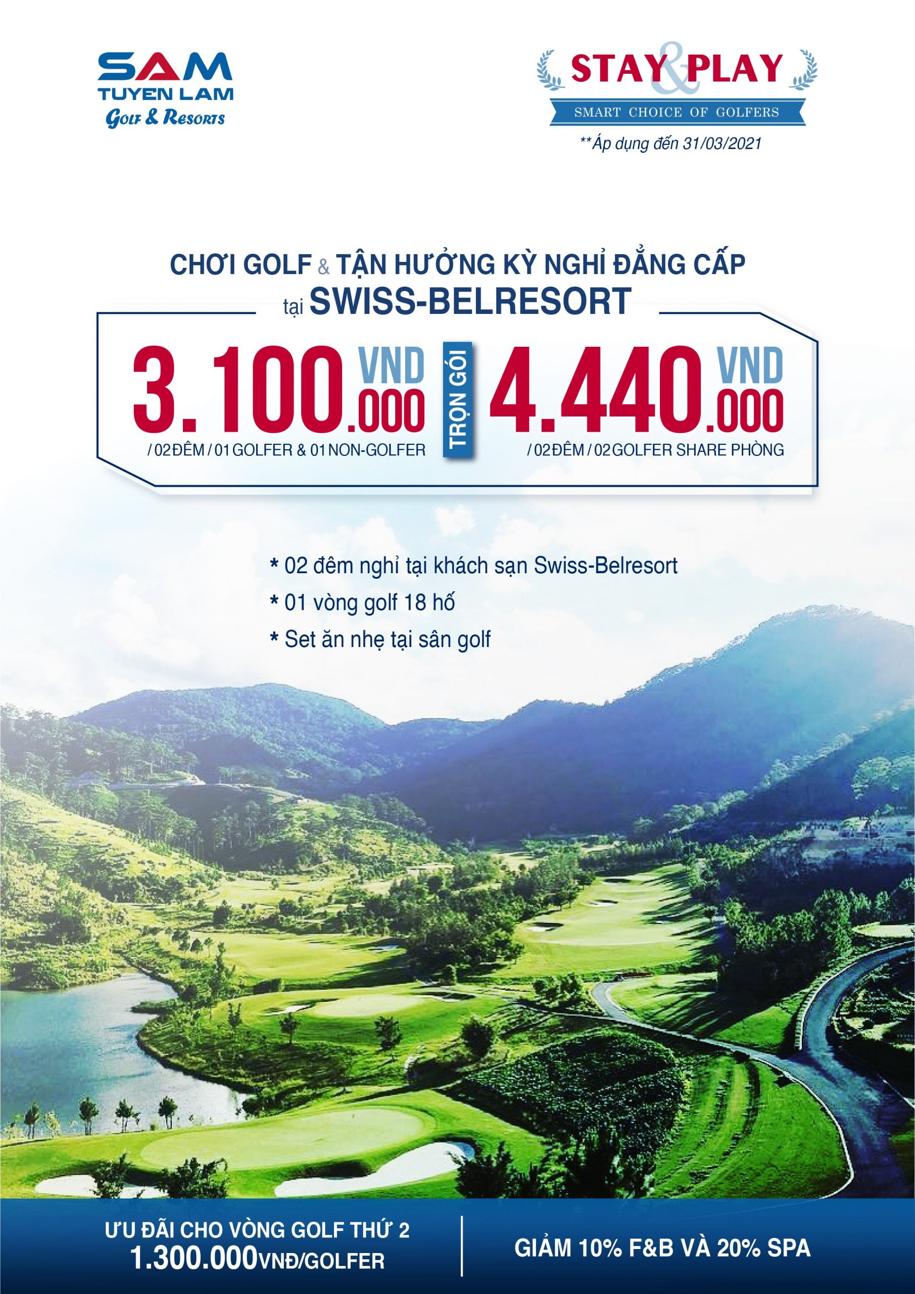 Promotion in March: Stay and Play Sam Tuyen Lam Golf 3D2N
